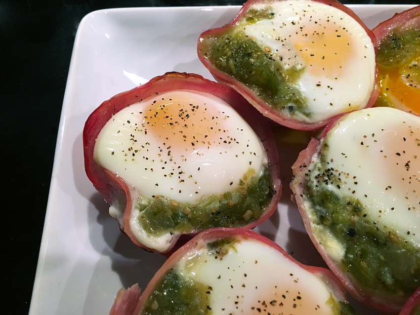 Ham egg and cheddar cups