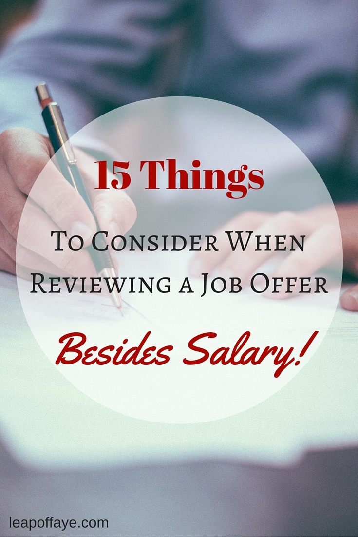 15 Things to Consider When Reviewing a Job Offer Besides Salary