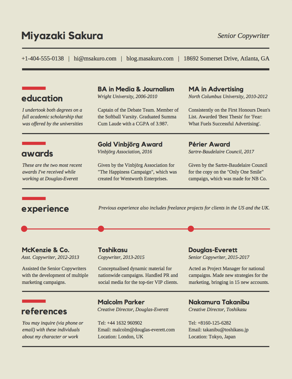 resume with accent or not