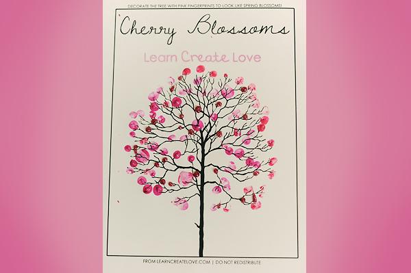 Fingerprint Cherry Blossom Tree LearnCreateLove