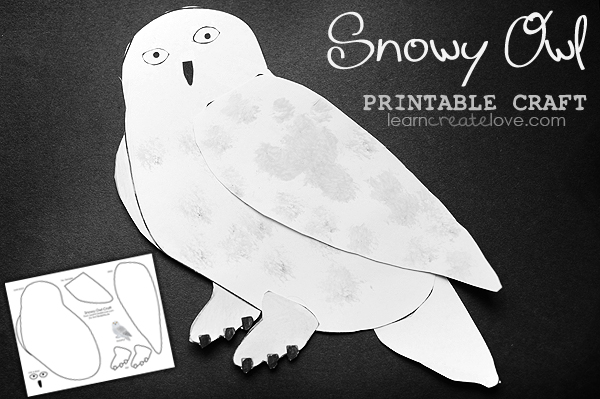 Snowy Owl Printable Craft LearnCreateLove