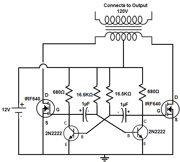 12v to 120v inverter circuit diagram