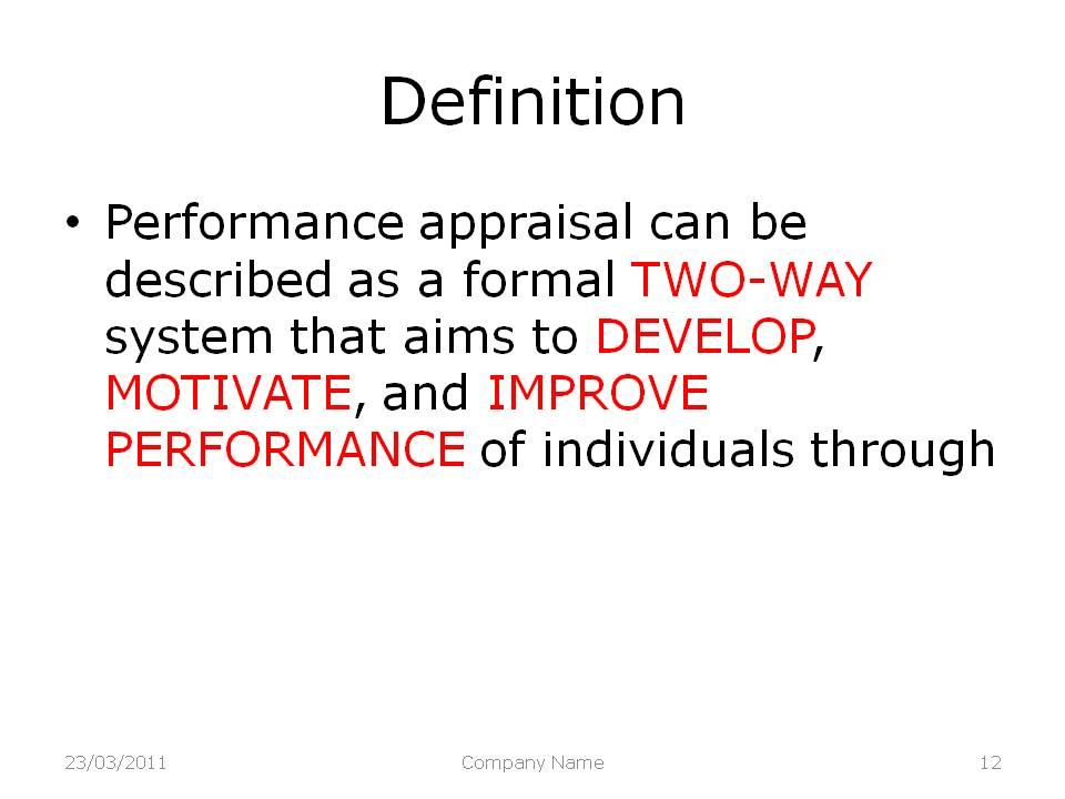 Performance Appraisal Model Learning Models