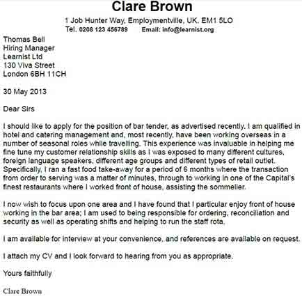 Cover Letter Examples Listed By Type Of Job Free Cover Letter Examples Learnistorg