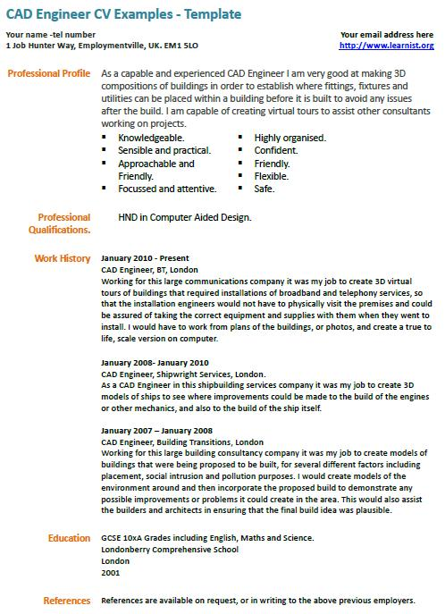 Professional Cv Writing Services Cv Knowhow Cad Engineer Cv Example Learnistorg