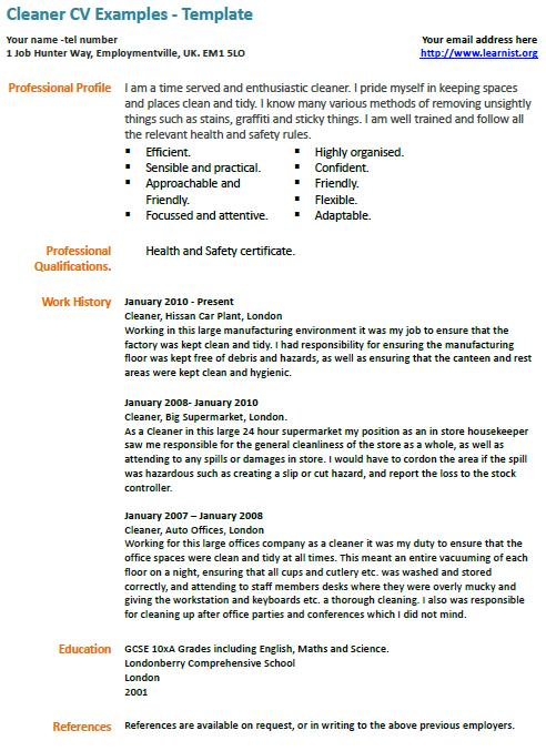 house cleaning resume house - Sample Resume For Cleaner