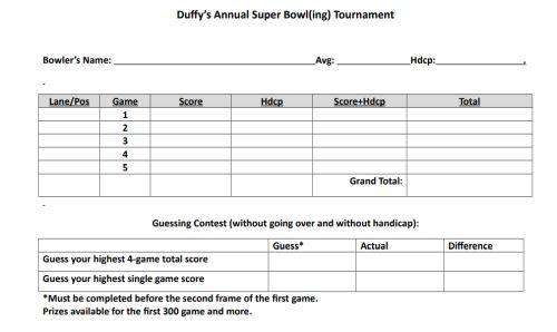 Duffy\u0027s 17th Annual Super Bowl(ing) No Tap Tournament