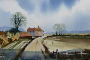 Watercolour painting of Norfolk barns