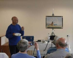 watercolour demonstration painting cley windmill 1