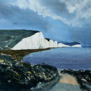 Watercolour painting of Seven Sisters cliffs
