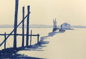 watercolour painting of misty day at thornham norfolk