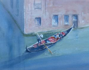 Watercolour painting of Venice gondola