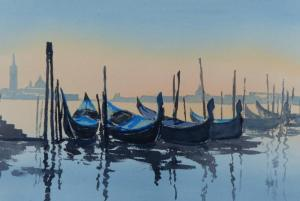 watercolour painting of dawn in venice