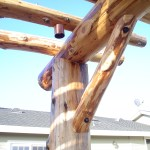 """This arbor was constructed out of reclaimed lumber."""
