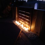 Industrial Outdoor Fire Pit Water Feature with LED Lighting.