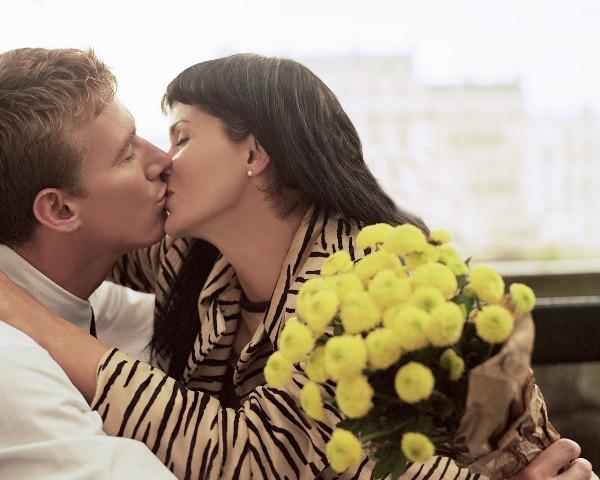 Romantic Couple Kissing Paris, France