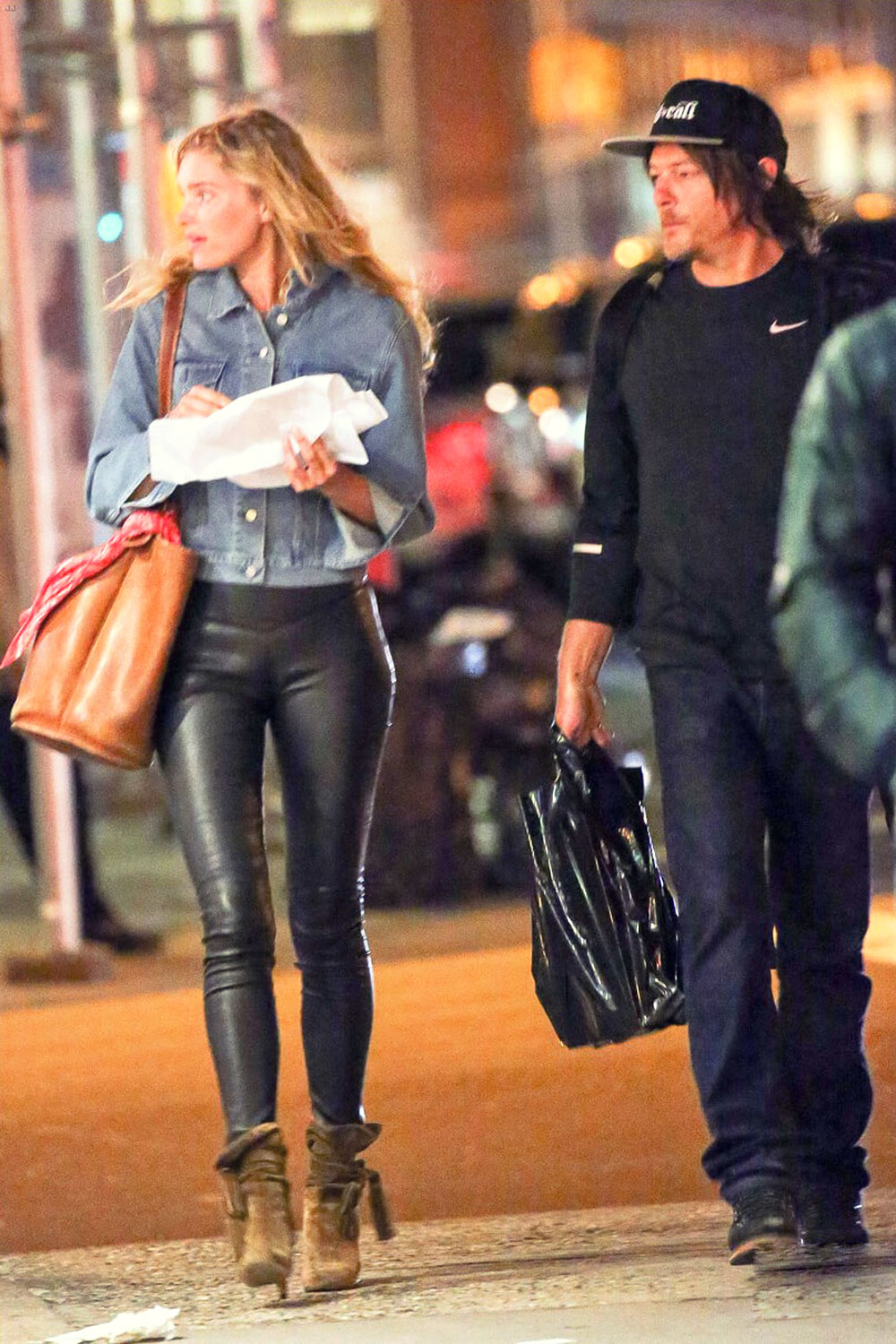 Smart Casual Elsa Hosk Walking Around In New York City - Leather