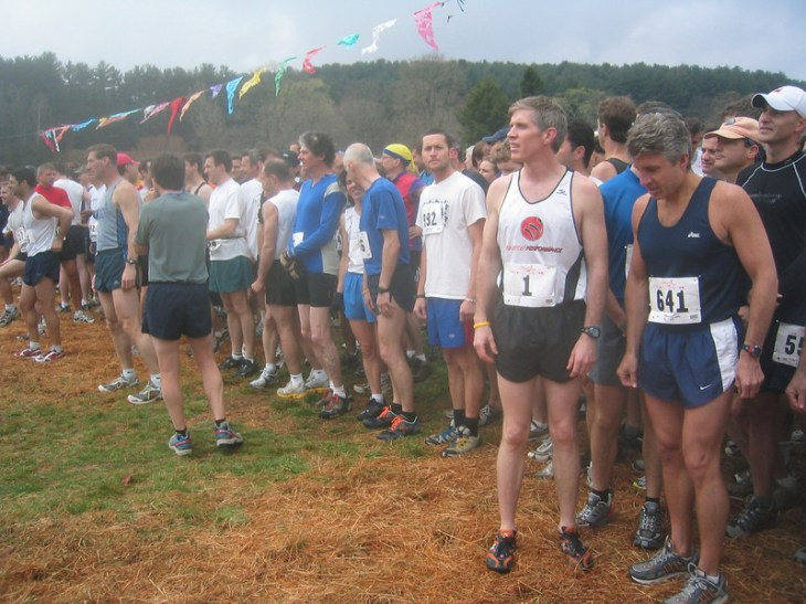 At start line of 2005 Loop. Tom Nohilly first time wearing bib #1. Photo by Rob Cummings.