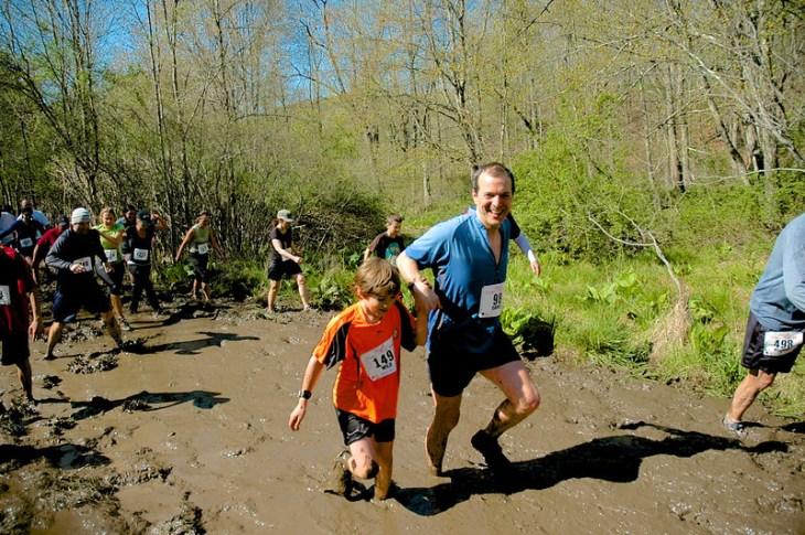 Sylvan and Dan Cummings in the Mud Flats 2012. Photo by Tyler Reinke