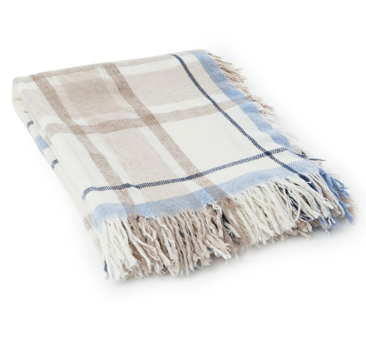 Wolldecke Taupe Lexington Decke Wool Checked Beige Blau