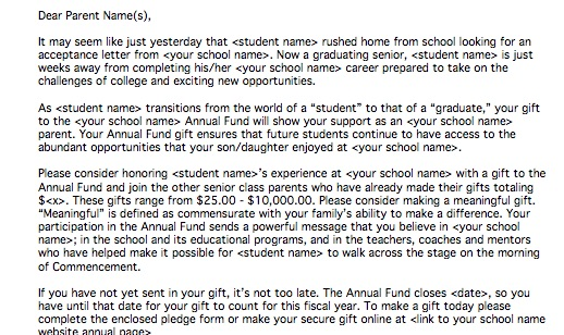 Example End Of Year Senior Class Parent Appeal Letter - appeal letter
