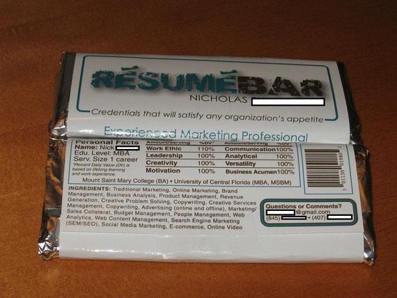 votre cv sur un emballage de chocolat