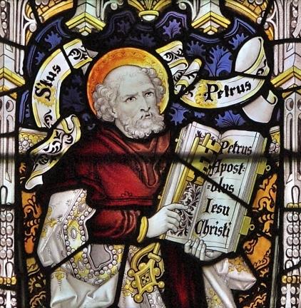 St Pierre -détail d'un vitrail de C.E. Kempé - église St-Jacques Hunstanworth, comté de Durham