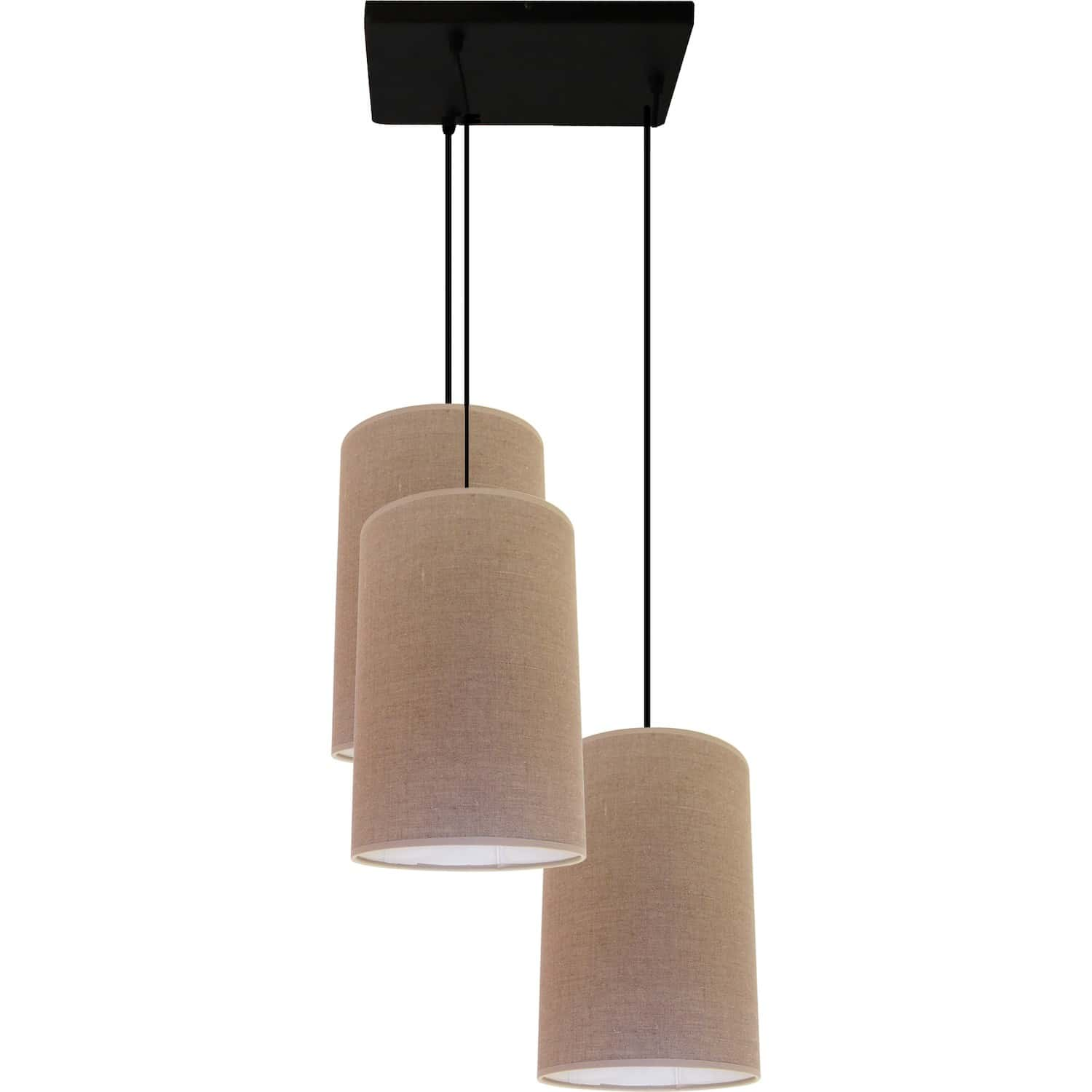 Suspension Lin Suspension 3 Lampes Abat Jour Tissu