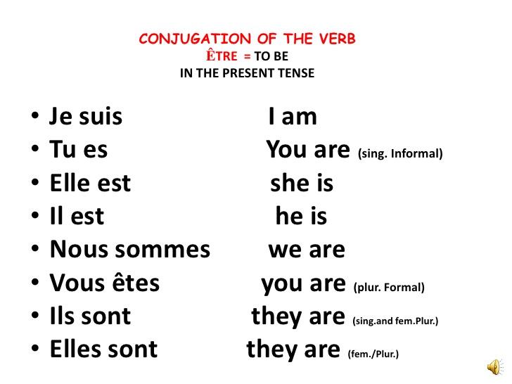 new etre verb chart