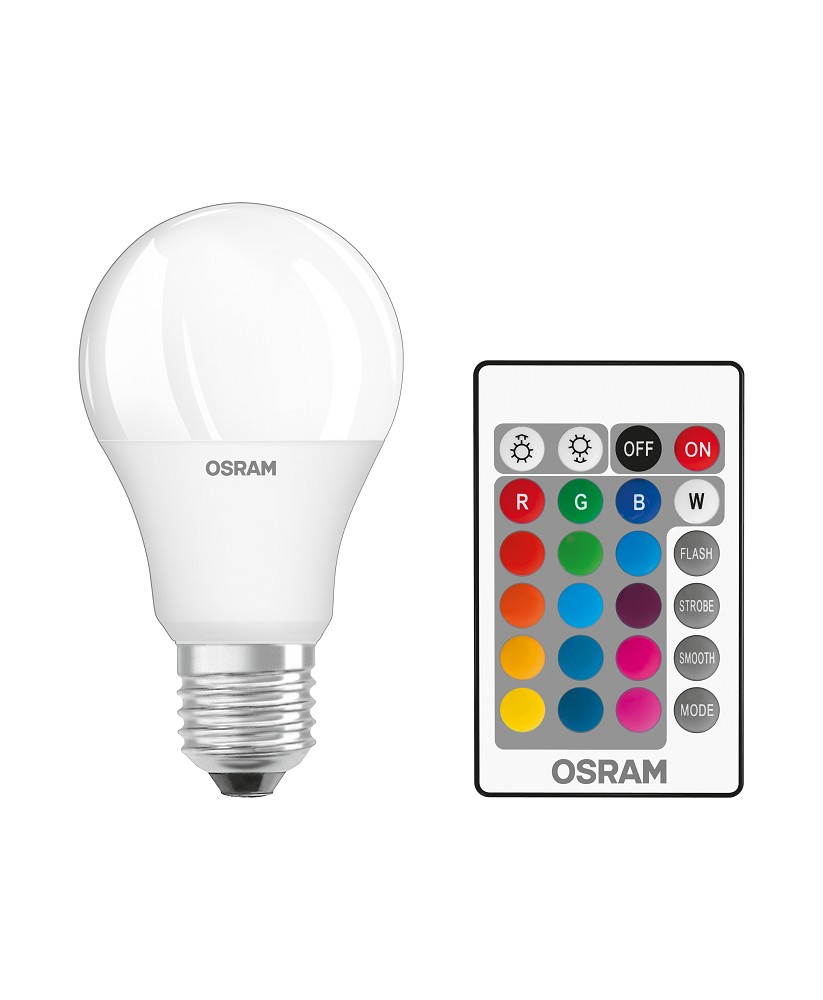 Led Dimmbar E27 Osram Led Base Rgbw Remote A60 E27 Dimmbar Led Lampe Mit Fb Wie 60w