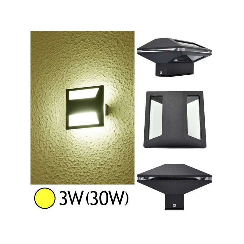 Projecteur Exterieur Led Gris Anthracite Applique Murale Led Cob 3w(30w) Ip54 Blanc Chaud Forme