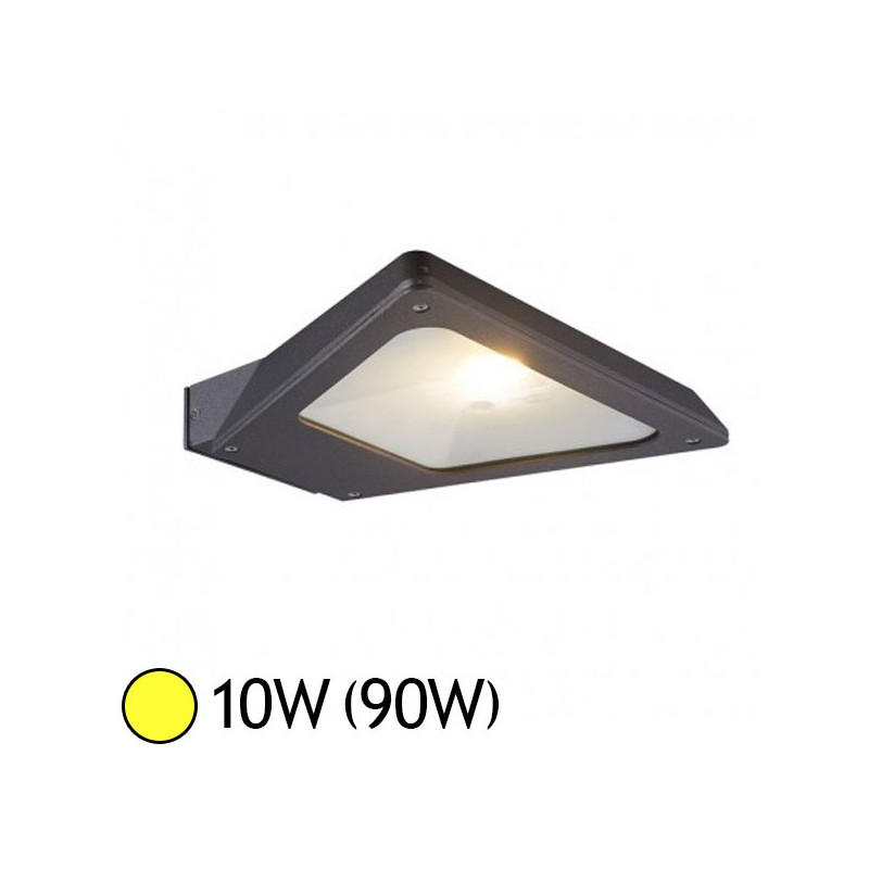 Projecteur Exterieur Led Gris Anthracite Applique Murale Led Cob 10w (90w) Ip54 Blanc Chaud Forme à