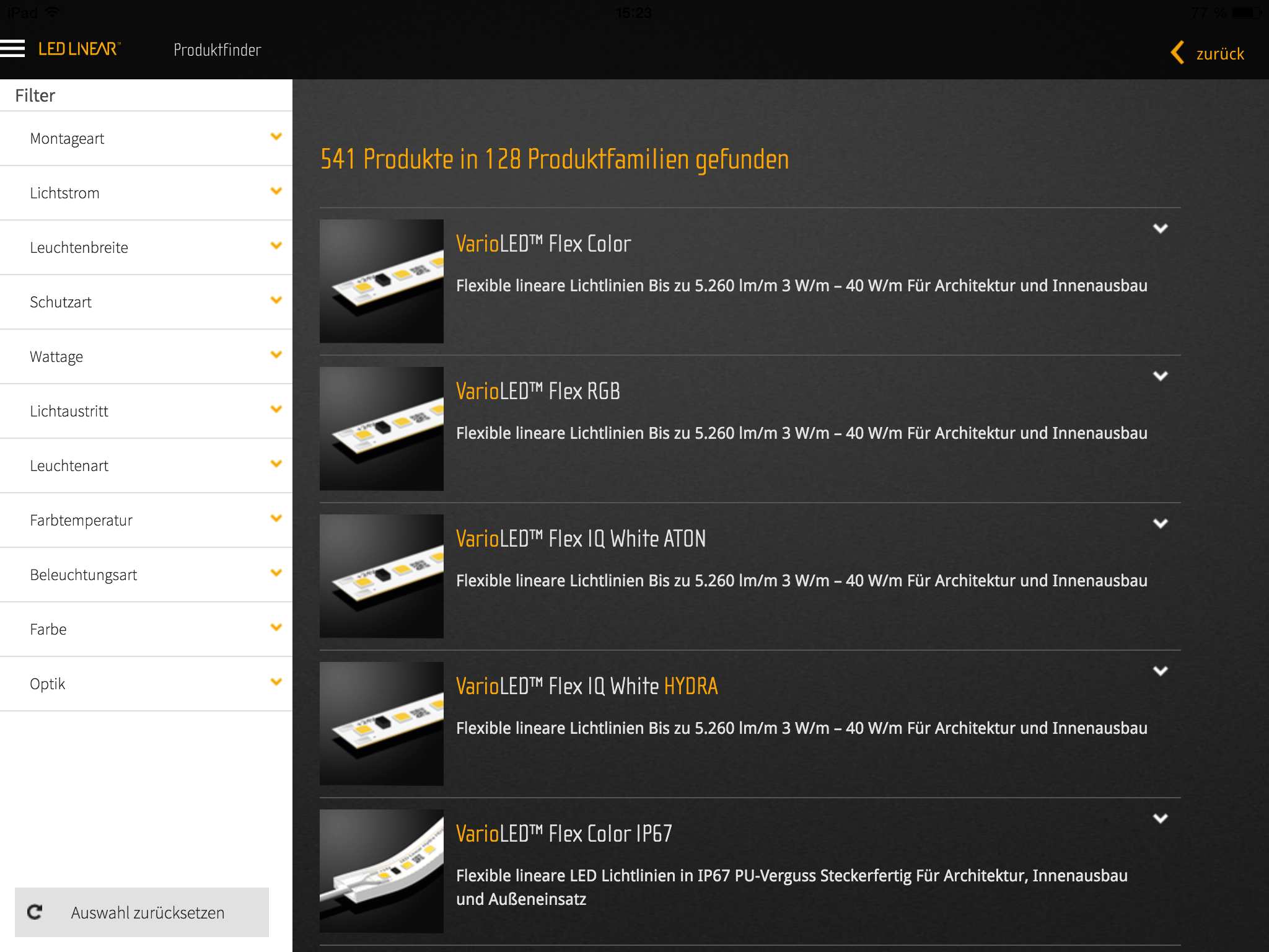 Led Farbtemperatur The Led Linear Product Configurator Now Available As Tablet App