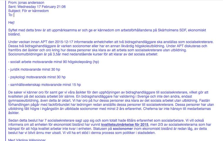 """Skärmavbild av mailet från """"Whistleblowern"""" i Skärholmens Stadsdelsförvaltning"""