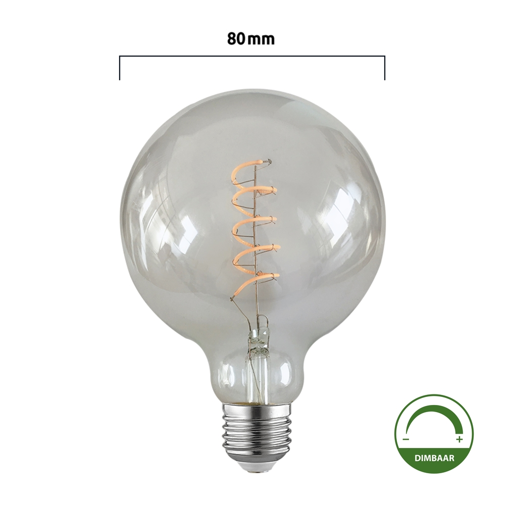 Led Filament Globe Lamp Spiraal 80mm 4watt Dimbaar 2200k