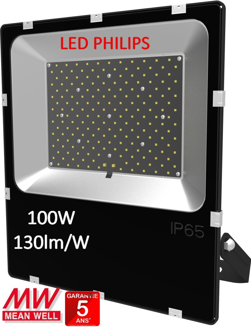 éclairage Industriel Led Philips Projecteur Led 100w 130lm W Driver Meanwell Led Philips 5000k
