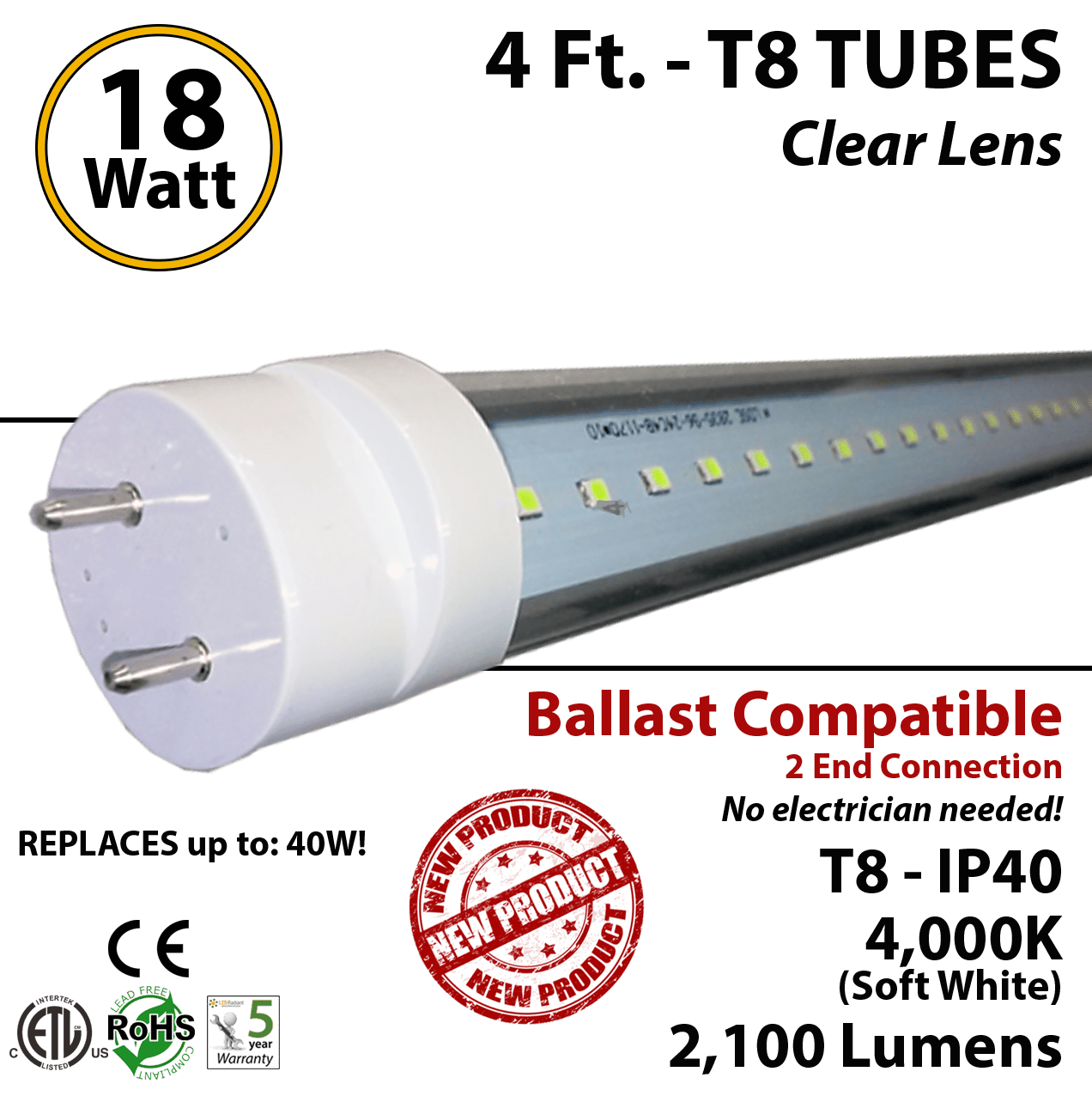 Led T8 18w 4ft Led Tube 2100lm T8 4000k Clear Lens Plug And Play Ballast Compatible Ip40 Etl