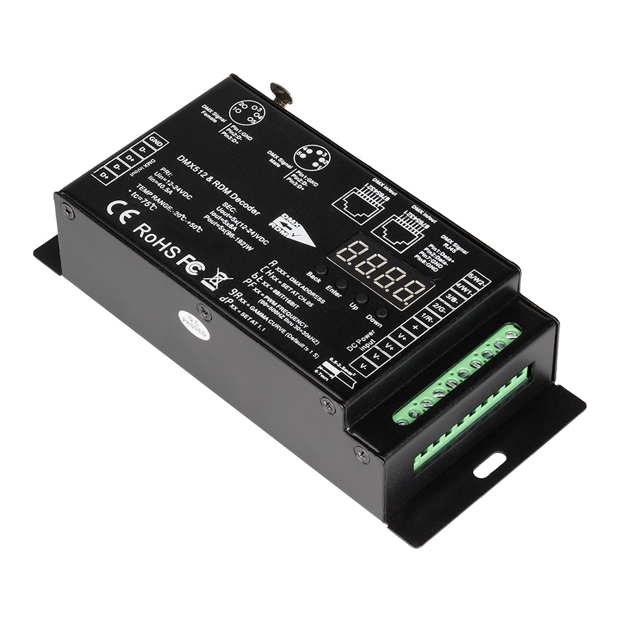 Led Strip Light Dmx Controller Led Dmx 512 Decoder Rdm Controller 8 Amp 5 Channel Digital