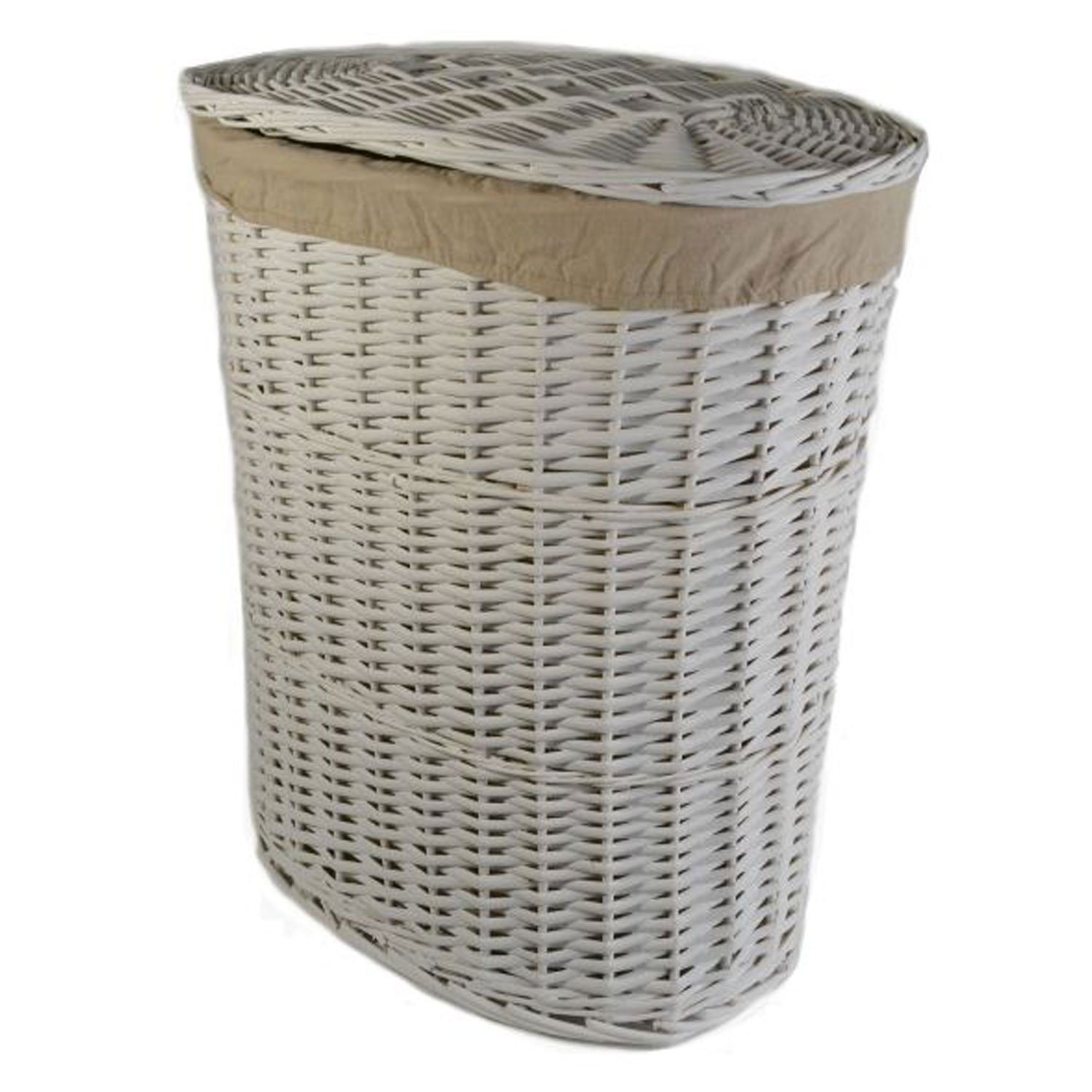 Closed Laundry Basket Jvl White Willow Storage Basket Large