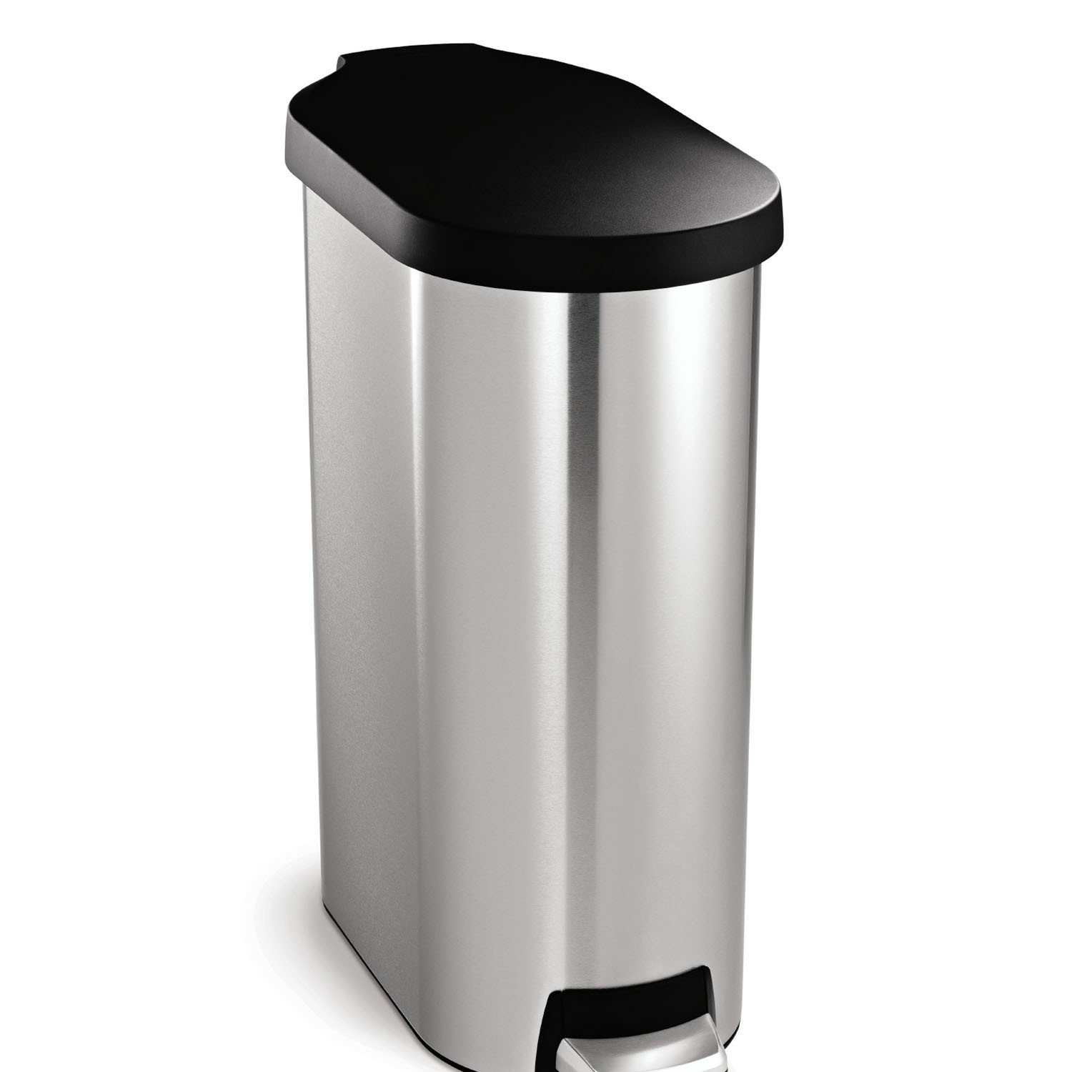 Tall Narrow Trash Can Simplehuman Slim Pedal Bin 45 Litre Brushed Stainless Stee