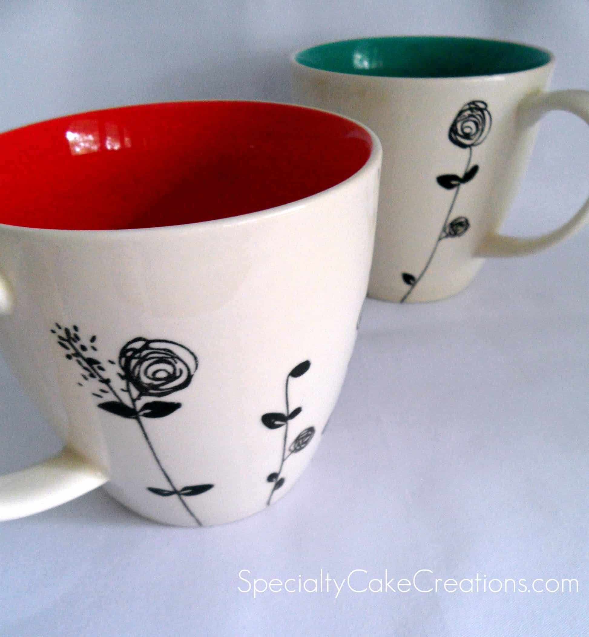 Speciality Coffee Mugs Black On White Flowers Cookies