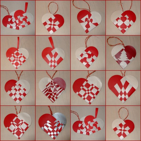 Dec 9 alfie makes woven paper christmas hearts leelouz