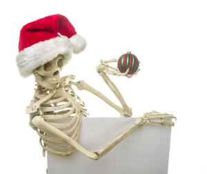 Skeleton with christmas ornament