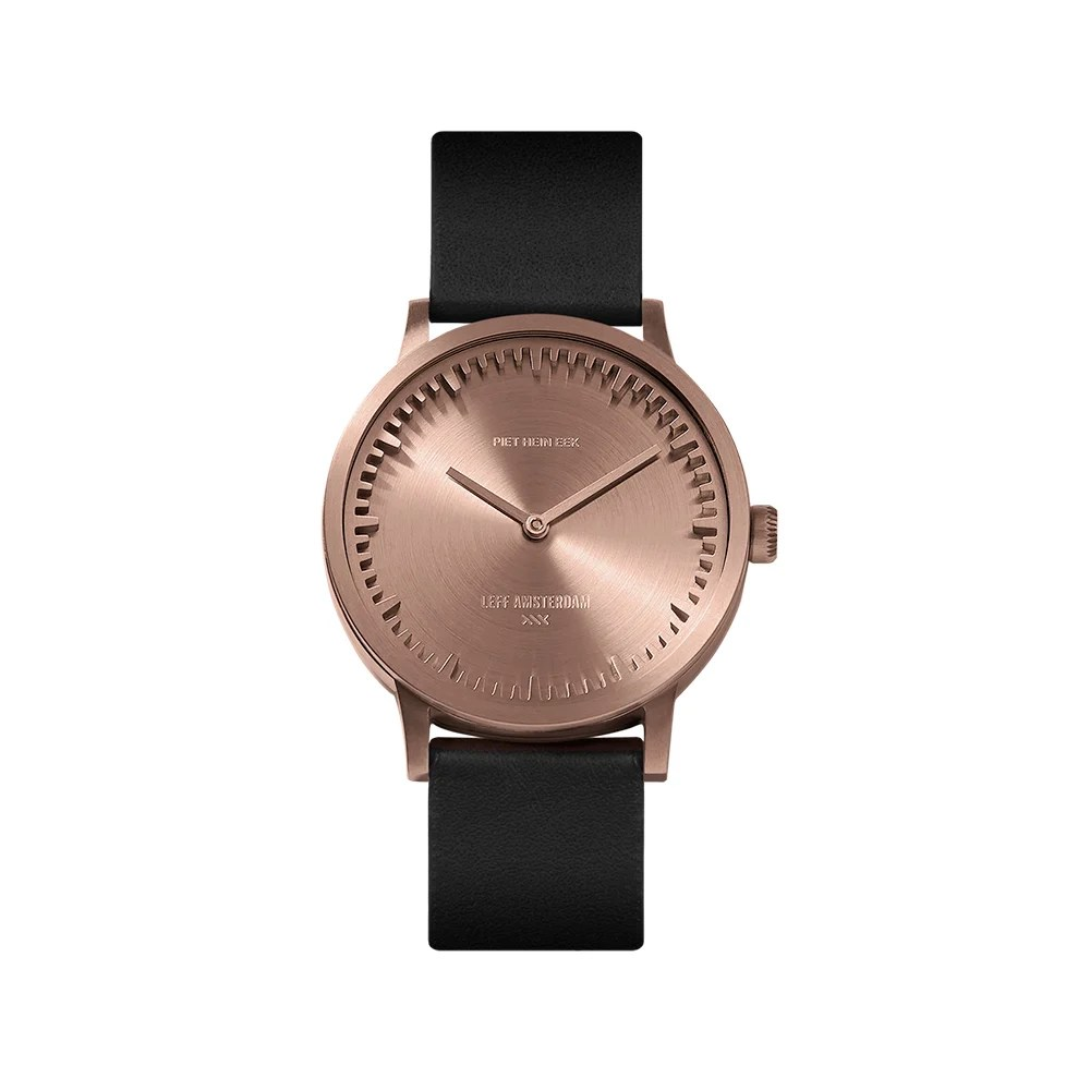 Leather Strap Rose Gold Watch Tube Watch T32 Rose Gold Black Leather Strap