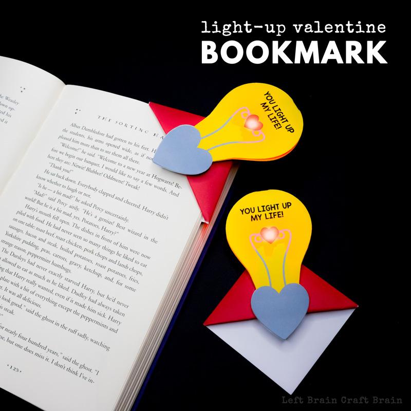 Light Up Valentine Corner Bookmark - Left Brain Craft Brain
