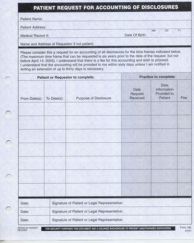 HIPAA Request for Accounting Disclosures Form 106 HIPAA Release Forms