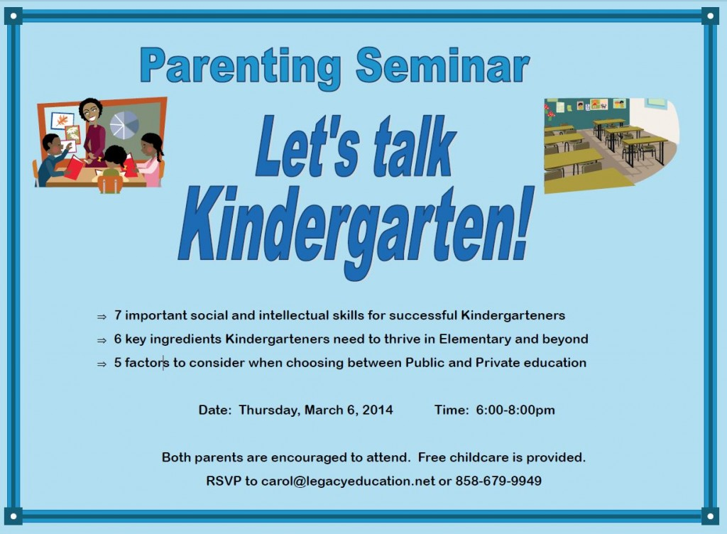 free parenting seminar Legacy Montessori School