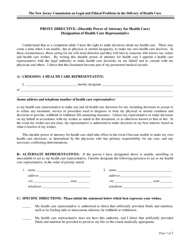 Advance Directive Form New Jersey
