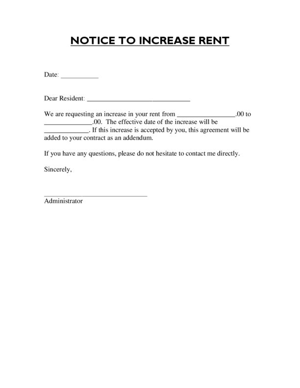 rental increase template landlord tenant notices rental property