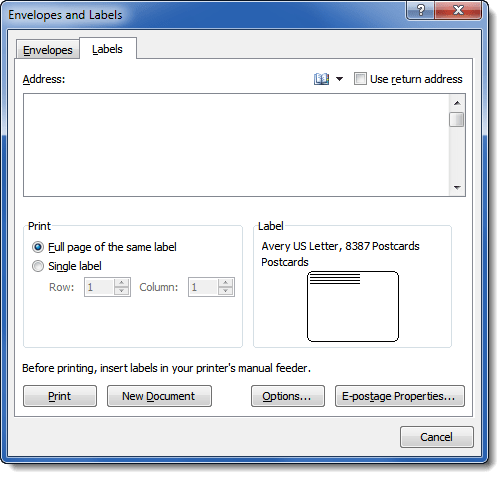 printing avery labels in word 2010